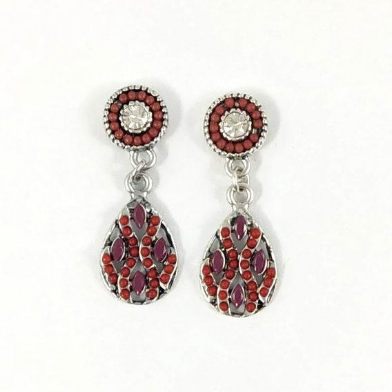 Pendientes de colgar con abalorios colores marron moda color plata antialergia sin nickel
