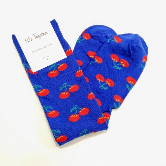 Calcetín para hombre y mujer, 100% algodón, color azul estampado de cereza, talla 40-46