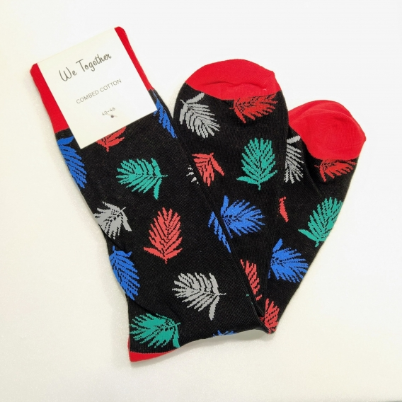 Calcetín para hombre y mujer, 100% algodón, color negro estampado de plantas, talla 40-46