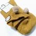 Calcetín para mujer, 100% algodón, color marrón ocre con pompón marrón claro, talla 35-40