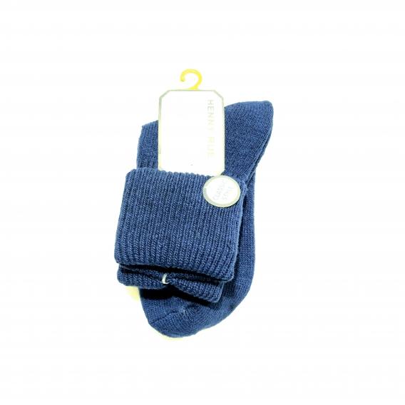 Calcetín para mujer, 100% algodón, color azul liso, talla 35-40
