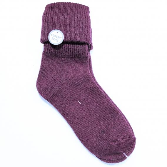 Calcetín para mujer, 100% algodón, color morado liso, talla 35-40