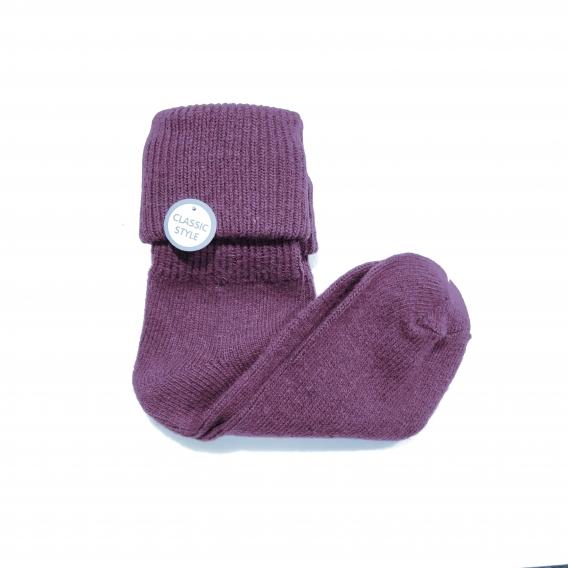 Calcetín liso morado con doblez de algodón talla 35-40
