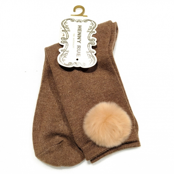 Calcetín para mujer, 100% algodón, color marrón con pompón marrón claro, talla 35-40