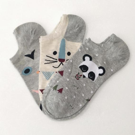 Calcetines Pack 3x talla 35-41 divertidos cortos graciosos para mujer oso panda gato y zanahoria de animales original