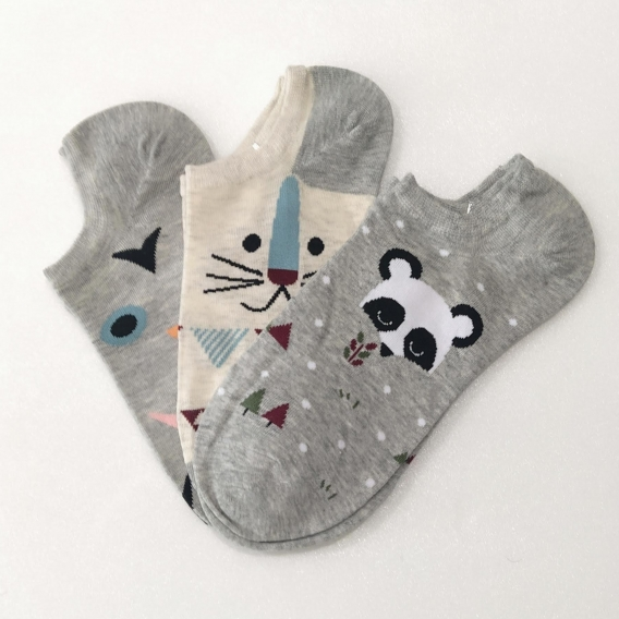 Calcetines Pack 3x para mujer oso panda gato y zanahoria talla 35-41 de animales original