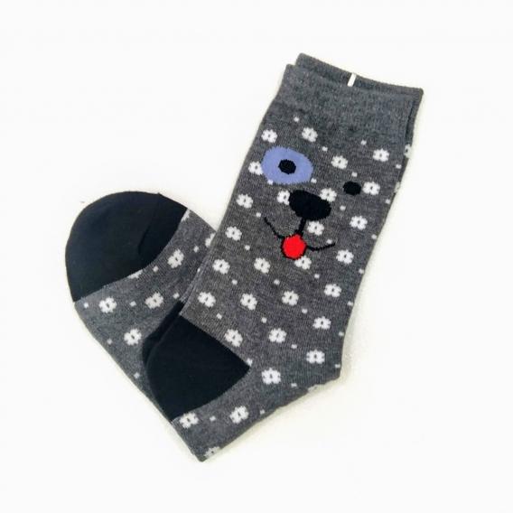 Calcetines grises con estampado de perrito y flores de la talla 35-40 para mujer