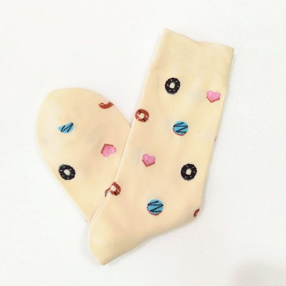 Calcetines talla 35-41 happy dibujos marca regalos originales beige con dibujos de colores de moda