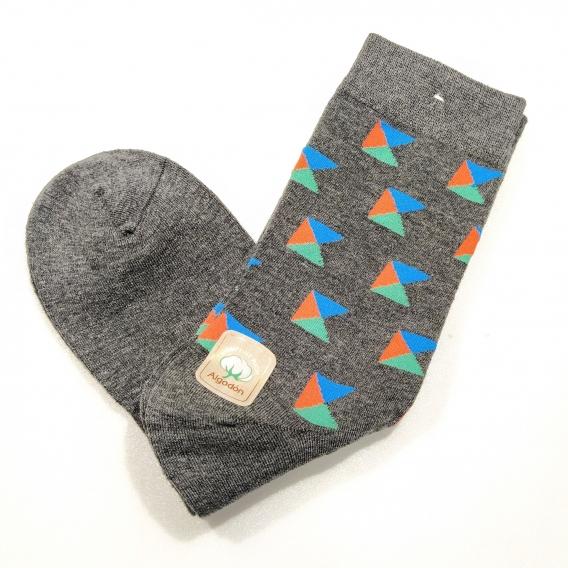 Calcetines divertidos para hombre talla 43-46 dibujos color gris con colores