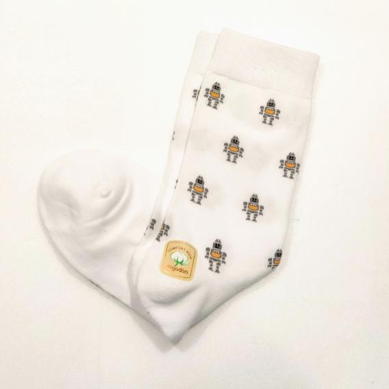 Calcetines de robots Marcianos Color Blanco talla 39-42