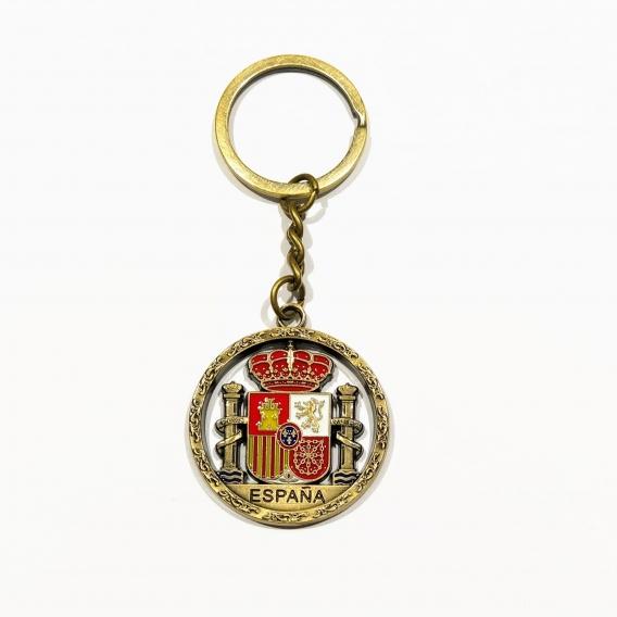 Llavero de bandera de españa escudo dorado para llaves