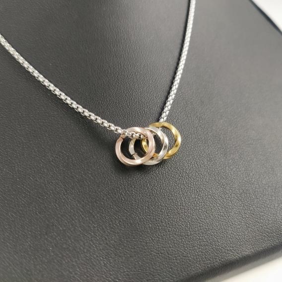 Collares de joyeria para mujer colgante en acero inoxidable tres oros de cadenilla fashion moderno regalos cumpleaños pareja